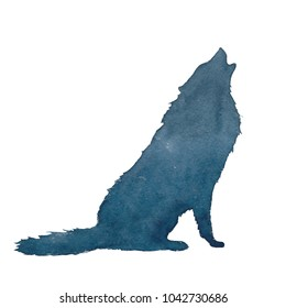 Watercolor silhouette of a wolf, a dog, running and howling to the moon. Realism, hand drawing, realism, silhouette.