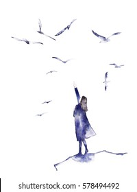 Watercolor silhouette of young girl with birds around her in watercolor style. Follow your dream