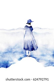 Watercolor silhouette of young girl with clouds and sea around her in watercolor style. Follow your dream