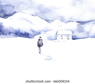 Watercolor silhouette of young men with mountains around in watercolor style. Follow your dream. Mountain hut in a winter landscape in the swiss alps.