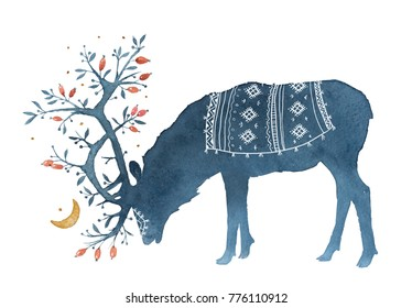 Watercolor silhouettes of deer with magic horns, north, magic, magic, dog rose, twigs, moon, crescent, Scandinavia, north, red Indians, native American, Alaska