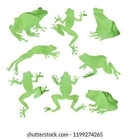 watercolor silhouettes frog
