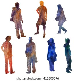 watercolor silhouettes of men and women, clothing people, painted in different colors, isolated design elements at white background