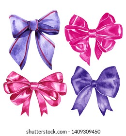 Watercolor silk bow-knots set. Four isolated colorful knots for decoration and design on white background. Violet and pink bows.