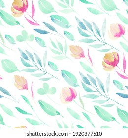Watercolor simple spring pink wildflowers, green branches and leaves seamless pattern, hand painted on a white background