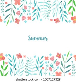 Watercolor simple summer red flowers and blue branches card template, hand painted on a white background