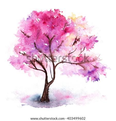 watercolor single pink cherry sakura treeのイラスト素材 403499602