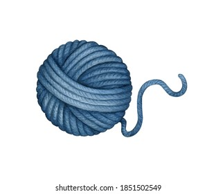 Watercolor Skein, Ball of blue Threads, wool Knitting Yarn Clew. Needlework, knitting, crochet, Hand Made Hobby. Hand drawn clip art, element isolated for knitters blog design, logo, pattern, poster