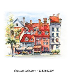 Watercolor sketch of amusing bright old-fashioned houses on Livu square in Old Town of Riga, Latvia