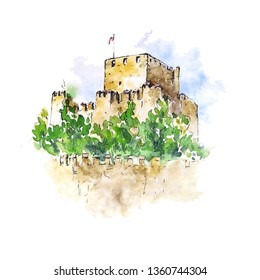 Watercolor sketch of Anadolu castle, Istanbul, Turkey. Hand painted element isolated on white. Perfect for print, card making and travel design.