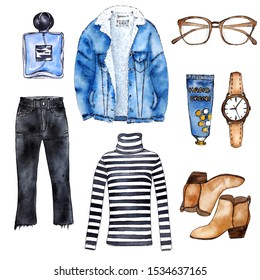 Watercolor sketch of autumn outfit with denim jacket, stripped sweater, cropped jeans and accessories. Hand painted fashion set, isolated elements, stylish look.