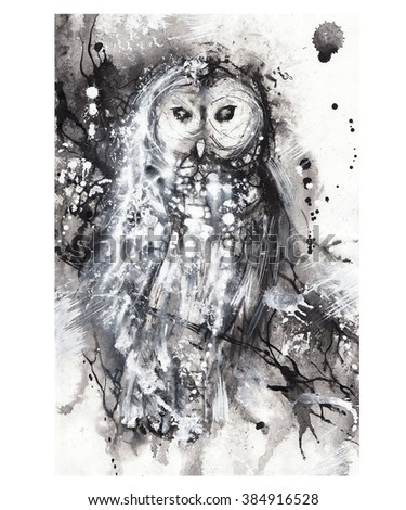 Royalty Free Stock Illustration Of Watercolor Sketch Black White Owl