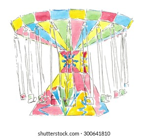 Watercolor sketch carousel isolated