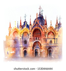 Watercolor sketch of Cathedral Basilica of Saint Mark, Venice, Italy.