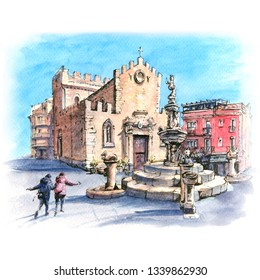 Watercolor sketch of Cathedral of Taormina and fountain on the square Piazza Duomo in Taormina, Sicily, Italy