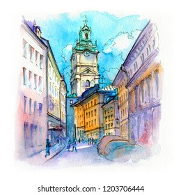 Watercolor sketch of Church of Stockholm Cathedral in Gamla Stan, Old Town of Stockholm, the capital of Sweden