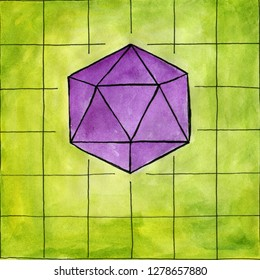 Watercolor sketch. D20 dice on a green grid play field. Set for rpg, board, dungeons and dragons, or tabletop games.
