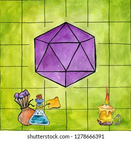 Watercolor sketch. D20 dice on a green grid play field. Set for rpg, board, dungeons and dragons, or tabletop games. Bag with dices, bottle with magic potion, and a candle
