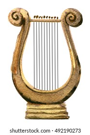 watercolor sketch of harp on white background