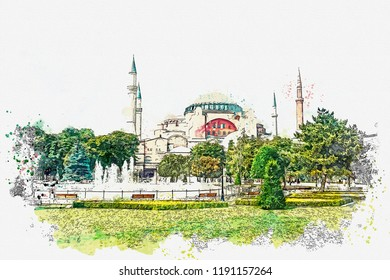 A watercolor sketch or illustration of a beautiful view of the Aya Sofia Cathedral on Sultanahmet Square in Istanbul, Turkey.