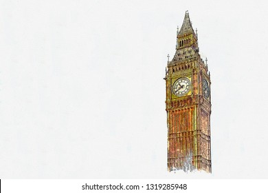 Watercolor sketch or illustration of a beautiful view of the Big Ben in London in the UK.
