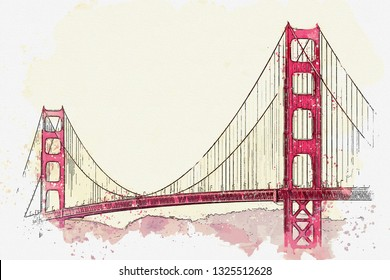Watercolor sketch or illustration of the beautiful view of the Golden Gate Bridge in San Francisco in America.