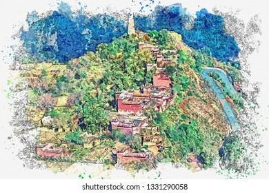 Watercolor sketch or illustration of a beautiful view of the Tibetan village.