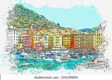 Watercolor sketch or illustration of the beautiful view of Camogli - a commune in Italy, located in the Liguria region, in the province of Genoa.