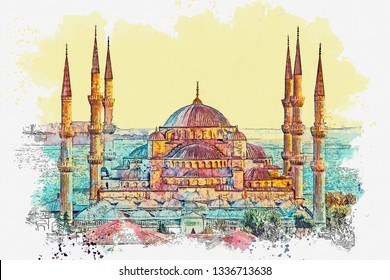 Watercolor sketch or illustration of a beautiful view of the Blue Mosque or Sultanahmet in Istanbul in Turkey.