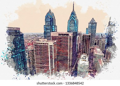 Watercolor sketch or illustration of a beautiful view of the Philadelphia with urban skyscrapers.