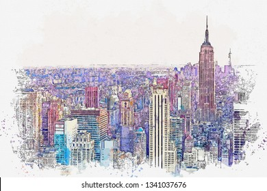 Watercolor sketch or illustration of a beautiful view of the New York City with urban skyscrapers. Cityscape or urban skyline.