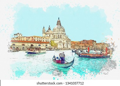 Watercolor sketch or illustration of a beautiful view of the Grand Canal and traditional houses in Venice in Italy. People swim in boats on the water