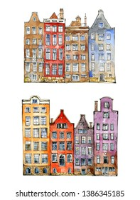 Watercolor sketch or illustration of a beautiful view of traditional residential buildings or urban architecture in Amsterdam in the Netherlands.