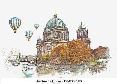 A watercolor sketch or illustration of the Berlin Cathedral called Berliner Dom. Berlin, Germany. City architecture. Hot air balloons are flying in the sky.
