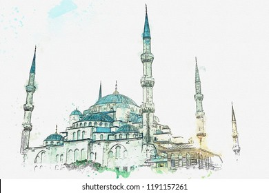 A watercolor sketch or illustration. The famous Blue Mosque in Istanbul is also called Sultanahmet. Turkey.