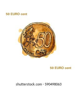 Watercolor sketch illustration of fifty euro cent  (front side) - European coin isolated on white background.