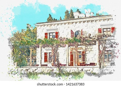 Watercolor sketch or illustration of a house.