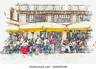 A watercolor sketch or an illustration. Street Cafe in Leipzig in Germany. People eat drink and communicate with each other