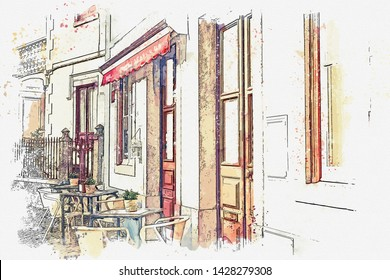 Watercolor sketch or illustration of a street cafe