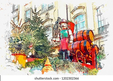 A watercolor sketch or an illustration. Traditional decorations of roofs of shops on the Christmas market in Dresden in Germany.