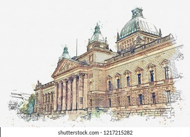 Watercolor sketch or illustration of traditional European ancient architecture in Leipzig in Germany.