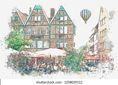 Watercolor sketch or illustration of traditional German architecture and street cafe in Muenster in Germany. People relax, eat and communicate with each other. Hot air balloon flies in the sky.