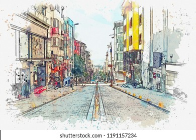 A watercolor sketch or illustration of a traditional street with apartment buildings in Istanbul, Turkey.