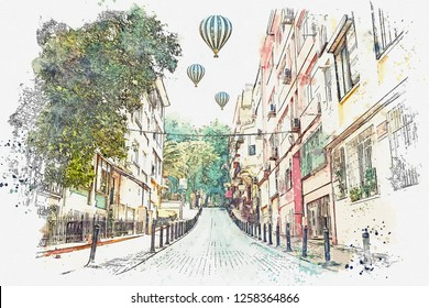 A watercolor sketch or illustration of a traditional street with apartment buildings in Istanbul, Turkey. Hot air balloons are flying in the sky.