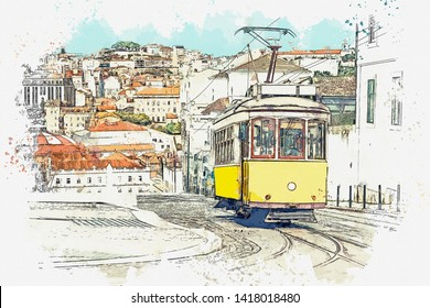 Watercolor sketch or illustration of a traditional yellow tram on a street in Lisbon in Portugal.