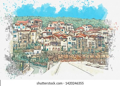 Watercolor sketch or illustration of a view of the city street of a small town.