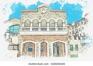 Watercolor sketch or illustration of a view of a house with many windows and balconies.