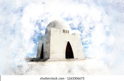 watercolor sketch of Mazar-e-Quaid - Image