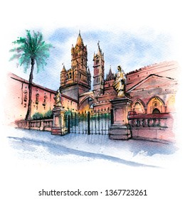Watercolor sketch of Metropolitan Cathedral of the Assumption of Virgin Mary in Palermo in the morning, Sicily, Italy