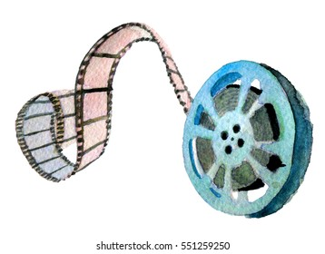 watercolor sketch of movie reel on white background